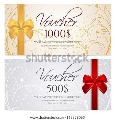 Voucher Gift Certificate Coupon Template Border Vector – Money Coupon Template