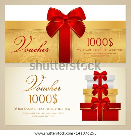 Voucher (Gift certificate, Coupon) template with present (boxes), bow (ribbons). Background design for invitation, banknote, cheque, money design, currency, check. Vector in gold, red (maroon) colors