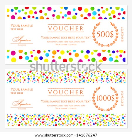 Voucher Gift Certificate Template Colorful Bright – Ticket Voucher Template