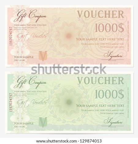 Voucher Template With Guilloche Pattern (watermarks) And Border. Background  Design Usable For Gift