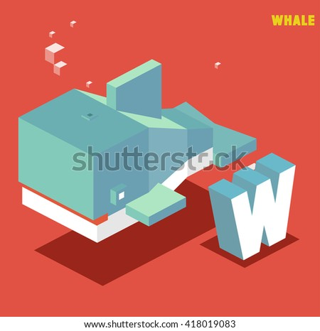 W for whale, Animal Alphabet collection. vector illustration