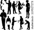 waiters and waitresses collection - vector - stock vector