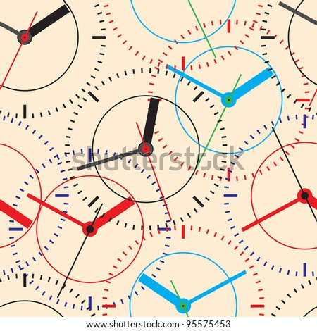 Wall clock. Vector illustration. Seamless.
