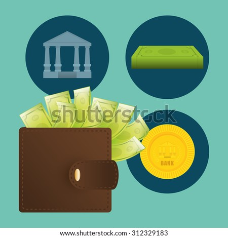 wallet with cash digital design, vector illustration 10 eps graphic
