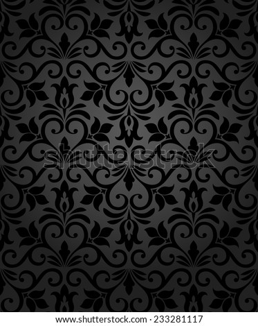 Wallpaper in the style of Baroque. A seamless vector background. Black texture. Floral ornament.