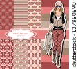 wallpaper, wrapper, fabric ,nice fashion girls design ,vector - stock vector