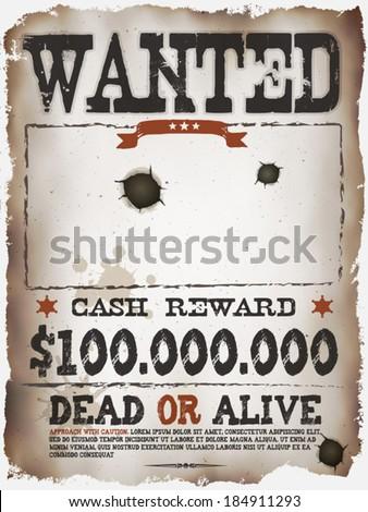 Wanted Vintage Western Poster Illustration Vintage Stock Vector