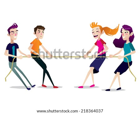war tug game kids teen isolated illustration vector