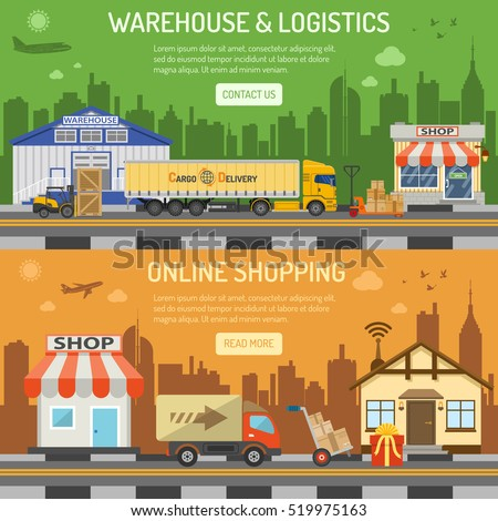 Warehouse, logistics and internet shopping Horizontal Banners with Flat Icons Set shop, delivery, truck, cityline, storage and house vector illustration