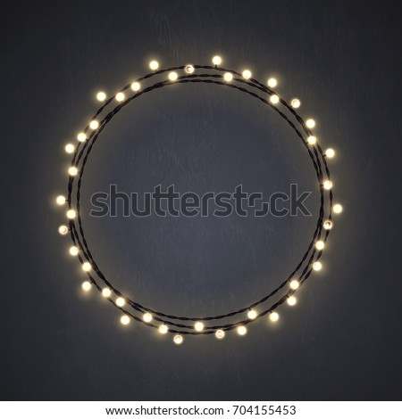 Warm Colored Christmas Incandescent Light String Wreath On The Dark Grey  Background. Vector Outdoor Patio
