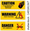 Warning, icon vector - stock photo