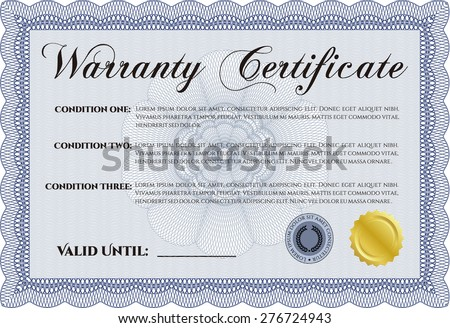 Warranty Certificate. With sample text. With background. Perfect style.