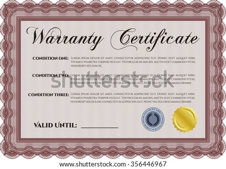Warranty template. Perfect style. It includes background. With sample text.
