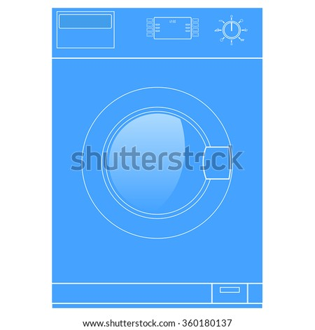 washing machine line art style stock vector 126735308 shutterstock. Black Bedroom Furniture Sets. Home Design Ideas