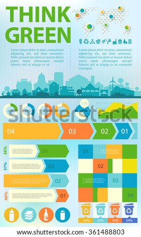 Waste segregation and recycling infographics with elements