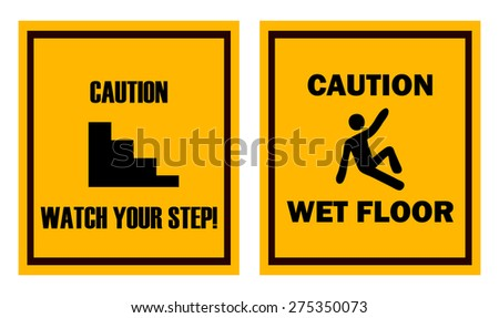Wet Floor Triangular Warning Sign Vector Stock Vector ...