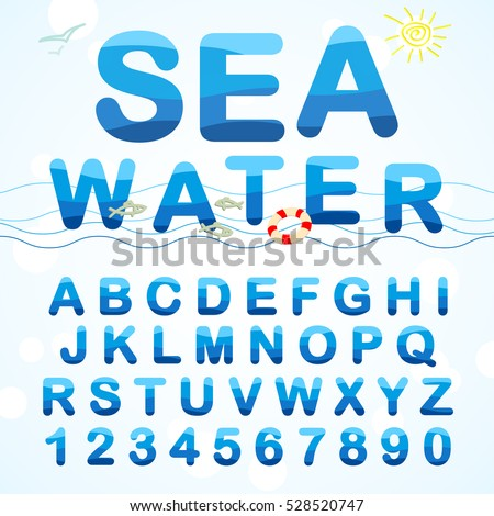 Water ABC. Alphabet font made in a marine style Set of water letters