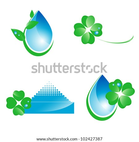 Water and green leaf ecology set of icons and symbols over white