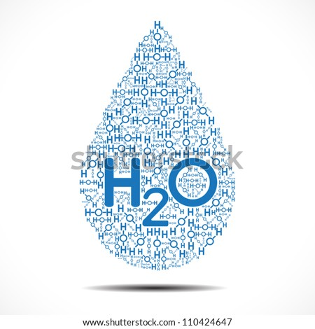 Water drop made out of Oxygen and Hydrogen Ions on white background.