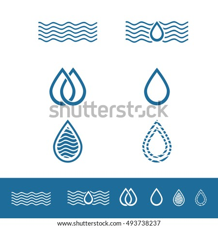 Water Drop Minimalistic Logo Design Collection