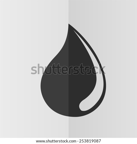 Water drop vector icon. Effect of folded paper. Flat design