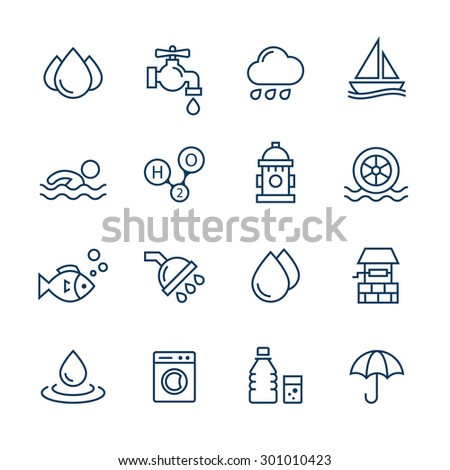 Water icons set.