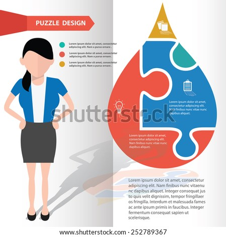 Water puzzle info graphic design and character,clean vector