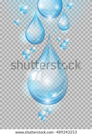 Water. Transparent water drops. Vector illustration.