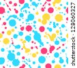Watercolor abstract colorful seamless background. Bright dotted texture. Pattern with spots of water. Blots. Stains - stock vector