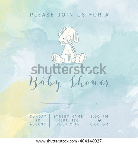 watercolor baby boy shower card with retro toy, vector illustration