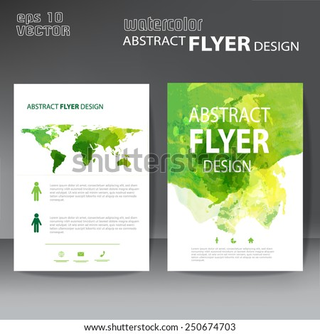 watercolor brochure, flyer template