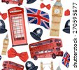 Watercolor London pattern. Seamless texture with hand drawn elements: red phone booth, Big Ben clock, flag of Great Britain, helmet of policeman, bow tie with polka dot, policeman helmet, red bus - stock photo