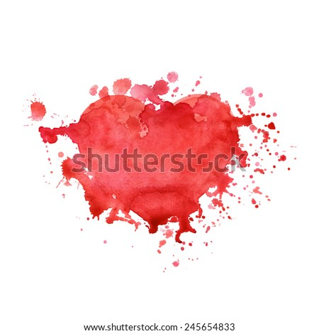 Watercolor splash valentine's day heart background. Vector eps10.