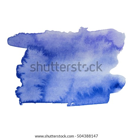Watercolor stain banner dark blue color. Watercolor background