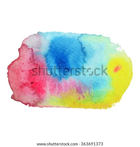 Watercolor stain with streaks of blue pink  yellow color. Banner for your text. Vector illustration