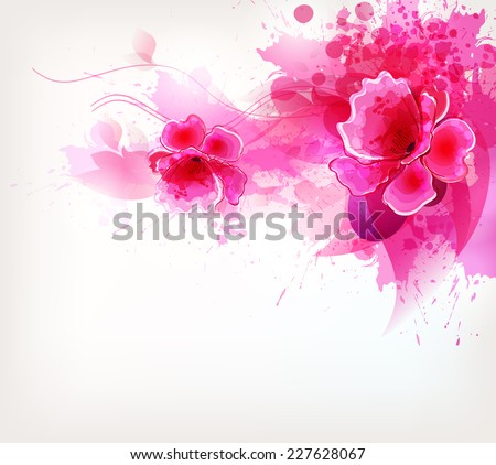 Watercolor vector background with Colorful flower and blots