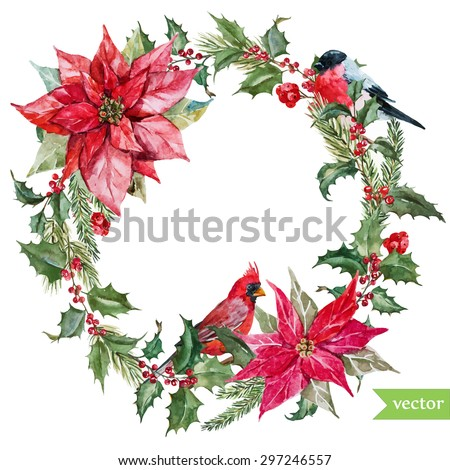 Watercolor drawing isolated christmas wreath fir stock for Poinsettia christmas tree frame