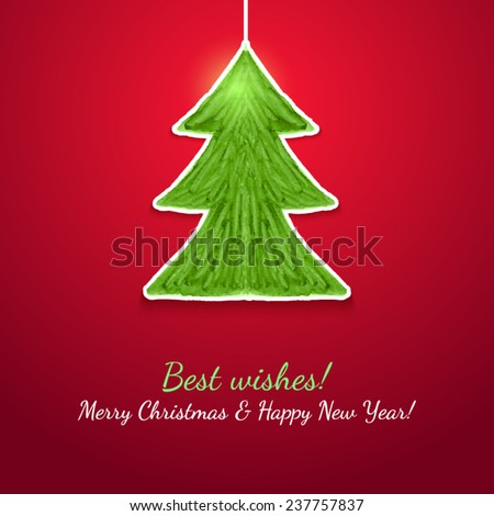 Watercolor vector of abstract handmade painted Christmas tree with greeting