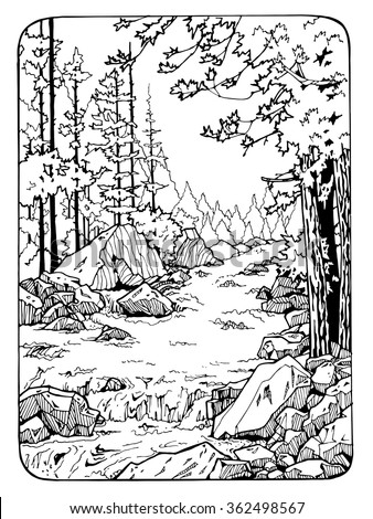 waterfall in the wood coloring page for adults antistress coloring