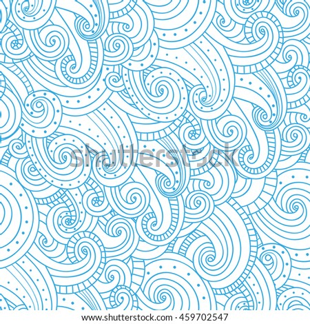 Waves seamless pattern. Background with waves and clouds