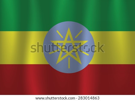 Waving flag of Ethiopia, vector, satin