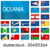 "Waving Flags of  Oceanian countries. Design ""Waves"". One of the Flags of the World series. - stock vector"