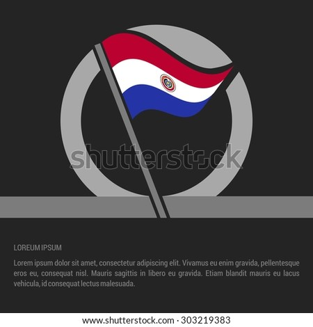 Waving Paraguay Flag badge design - independence day Label - Vector illustration