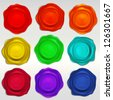 Wax seal emblems or paint splashes set of vector eps10 elements - stock photo