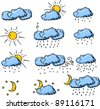 Weather hand drawing icons - stock vector