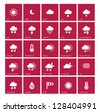 Weather icons on red background. Vector illustration. - stock vector