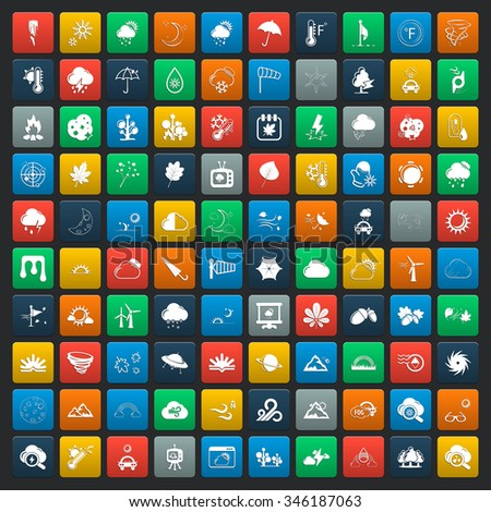 weather 100 icons set for web flat