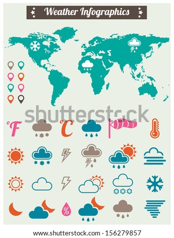 Weather widget and icons. Vector illustration