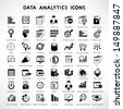 web analytic icons set, data analytic icon set - stock vector