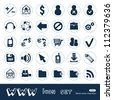 Web and finance icons set. Hand drawn sketch illustration isolated on white background - stock vector